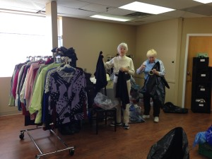 Wilma and Glenna hanging clothing